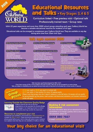 Educational Resources - Cadbury World