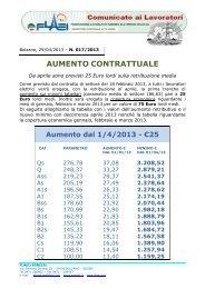 Aumento contrattuale dal 01/04/2013 - SGB - CISL