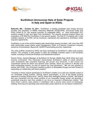 SunEdison Announces Sale of Solar Projects in ... - SunEdison EMEA