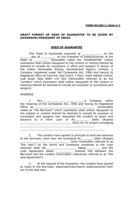Draft Format Of Deed Of Guarantee To Be Given Ireda