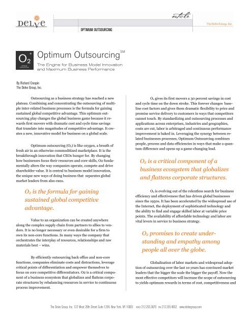Optimum Outsourcing - The Delve Group, Inc