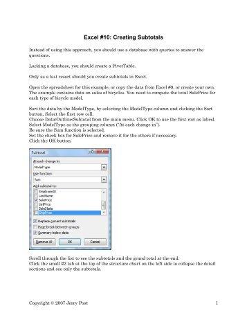 Excel #10: Creating Subtotals - Jerry Post