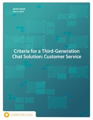 Criteria for a Third-Generation Chat Solution: Customer ... - LivePerson