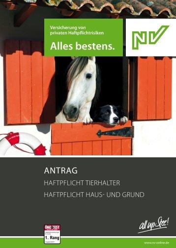 Antrag auf Versicherung Haftpflicht Tierhalter und ... - NV Versicherung
