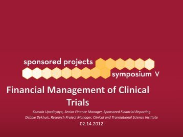 Financial Management of Clinical Trials - Sponsored Projects ...