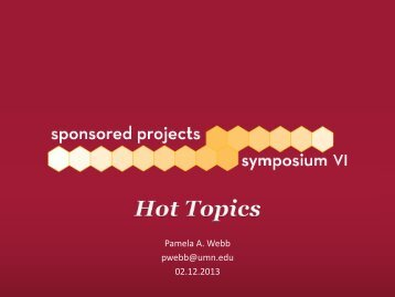 Hot Topics - Sponsored Projects Administration - University of ...