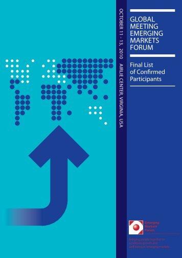 Final List of Confirmed Participants - Emerging Markets Forum