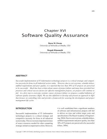 Software Quality Assurance - Information Systems and