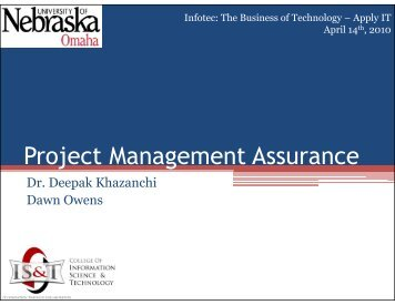Project Management Assurance - Information Systems