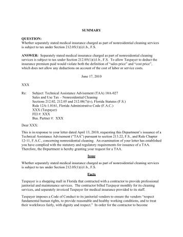 TAA 10A-027 - Florida Sales Tax Attorney