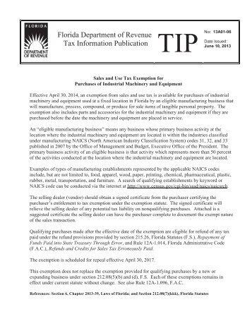 TIP 13A01-06 - Florida Sales Tax Attorney