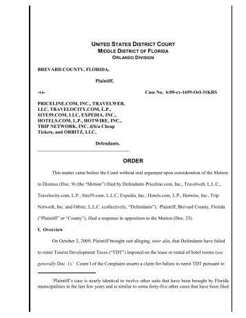Brevard County v. Priceline.com, Inc. - Florida Sales Tax Attorney