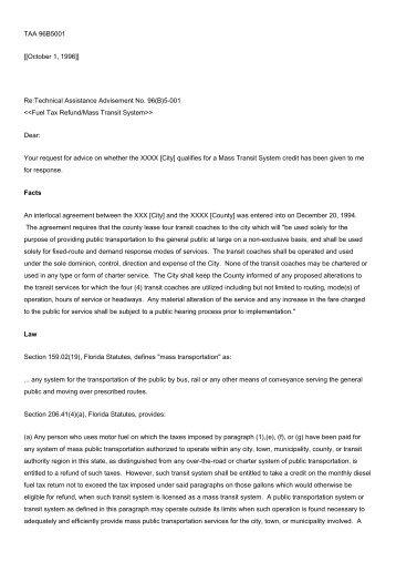 TAA 96B5-001 - Florida Sales Tax Attorney