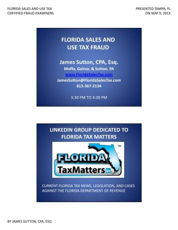 FLORIDA SALES AND USE TAX FRAUD - Florida Sales Tax Attorney
