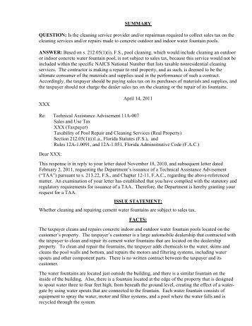 TAA 11A-007 - Florida Sales Tax Attorney