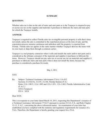 TAA 11A-012 - Florida Sales Tax Attorney