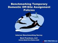 Benchmarking Temporary Domestic Off-Site Assignment Policies
