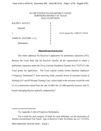 Order Granting Receiver's Application for Preliminary Injunction