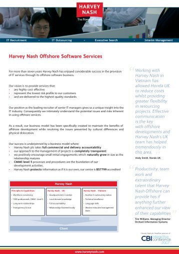Key Facts about Harvey Nash Offshore Software Services