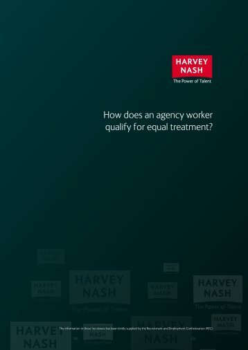 How does an agency worker qualify for equal ... - Harvey Nash