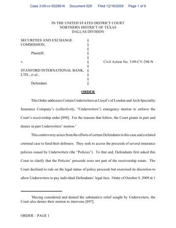 Order Granting in Part and Denying in Part Certain Underwriters at ...