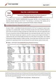 Q2 FY12/11 Summaries of Business Results ... - IRTV Network