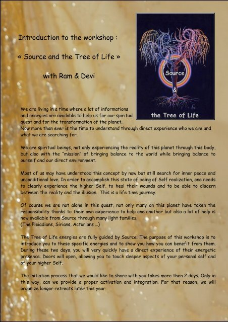 Introduction to the workshop : « Source and the Tree of Life