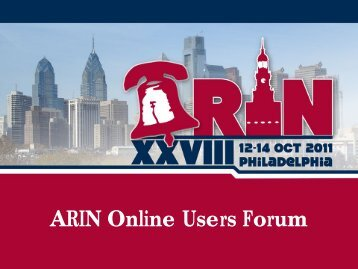 ARIN Online Users Forum