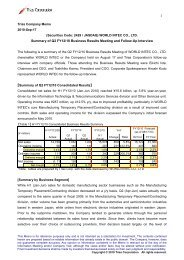 Summary of Q2 FY12/10 Business Results Meeting ... - IRTV Network