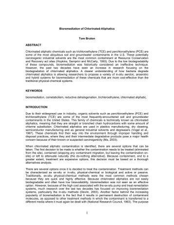 Bioremediation of Chlorinated-Aliphatics Tom Bruton ABSTRACT ...
