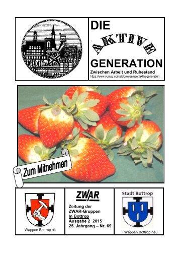 """Aktuelle ZWAR-Zeitung Ausgabe 2  2015, """"Die Aktive Generation"""","""