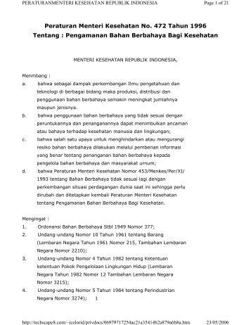Peraturan Menteri Kesehatan No. 472 Tahun 1996 Tentang ...
