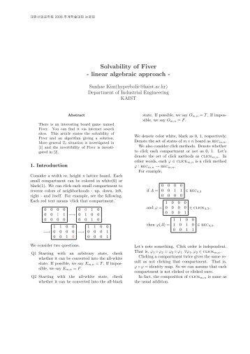 Solvability of Fiver - linear algebraic approach - KAIST