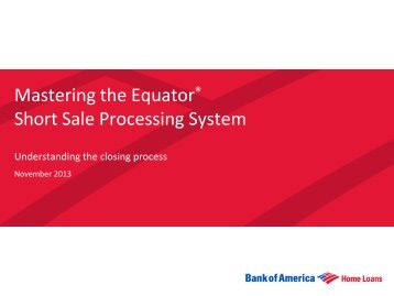 Mastering the Equator® Short Sale Processing System - Agent ...