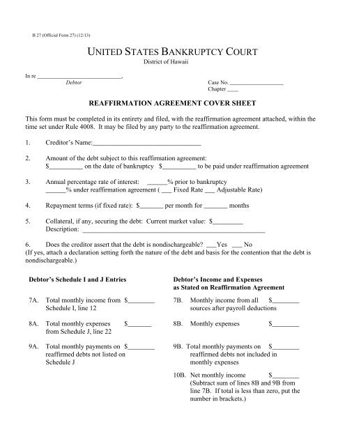 Reaffirmation Agreement Cover Sheet Us Bankruptcy Court