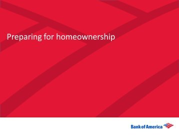 Preparing for Homeownership - Agent Resource Center - Bank of ...