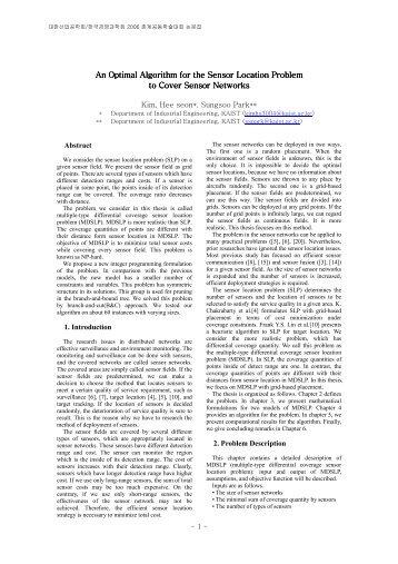 An Optimal Algorithm for the Sensor Location Problem - KAIST