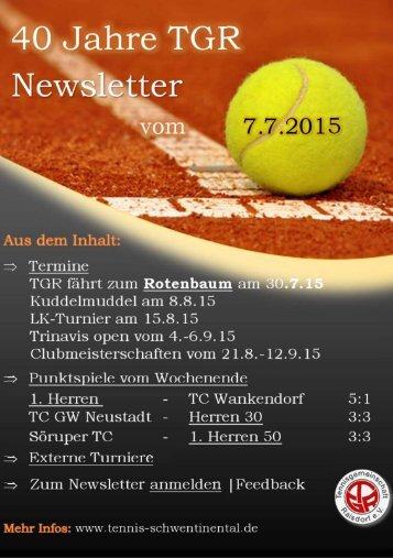 TGR Newsletter vom 16.7.2015