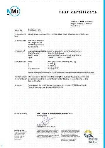 Test certificate - Mettler Toledo