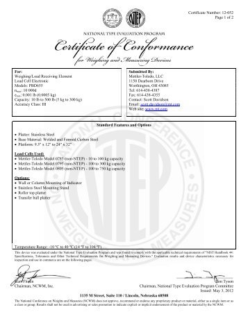 Certificate Number: MASC M/11-294X Issued: 10 August ... - Trolex
