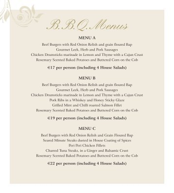 BBQ Menu - Bracken Court Hotel