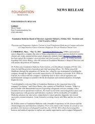 Foundation Medicine Board of Directors Appoints Michael J. Pellini ...