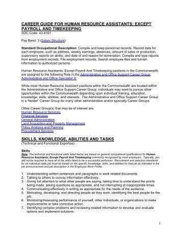 career guide for human resource assistants - Virginia Jobs