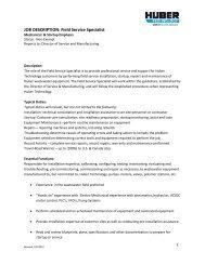 JOB DESCRIPTION: Field Service Specialist - Huber Technology