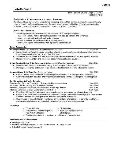 Career Change Sample Resume Panoramic Resumes LLC