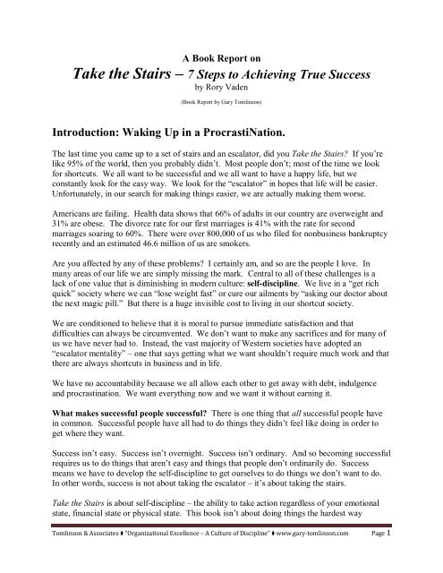 Book Report - Take the Stairs - Gary Tomlinson