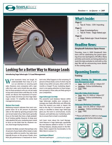 Looking for a Better Way to Manage Leads - Simplesoft Solutions, Inc