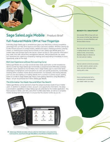 Sage SalesLogix Mobile Product Brief - BHE Consulting Inc