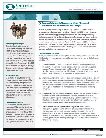 Top Ten Benefits of CRM - Simplesoft Solutions, Inc.