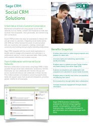 Social CRM Solutions - Sage ERP